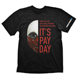 PAYDAY 2 Men's Wolf Mask Medium T-Shirt, Black