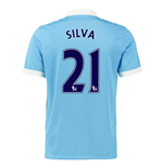 2015-16 Man City Home Shirt (Silva 21) - Kids