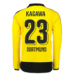 2015-16 Dortmund Home Long Sleeve Shirt (Kagawa 23)