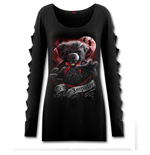 Ted The Impaler - Teddy Bear - Slashed Sleeve Boatneck Top