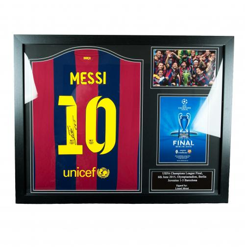 F.C. Barcelona Messi Signed Shirt (Framed)