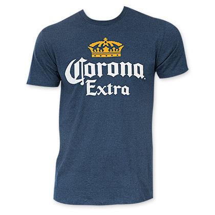 CORONA EXTRA Heather Navy Blue Palms Logo Tee Shirt