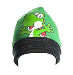 NINTENDO Super Mario Bros. Yoshi Folded Brim Beanie, One Size, Green/Black