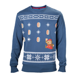 NINTENDO Super Mario Bros. Men's Running Xmas Mario Christmas Jumper, Medium, Blue