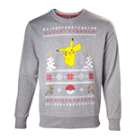 POKEMON Men's Dancing Pikachu Christmas Jumper, Small, Grey