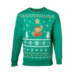 NINTENDO Super Mario Bros. Men's Running Xmas Mario Christmas Jumper, Extra Large, Green (SW238002NTN-XL)