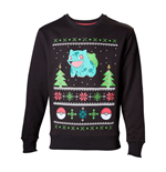 POKEMON Men's Bulbasaur in the Snow Christmas Jumper, Large, Charcoal/Black