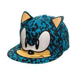 SEGA Sonic the Hedgehog Leopard Sonic Face with Ears Snapback Baseball Cap, One Size, Blue
