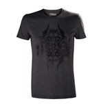 NINTENDO Legend of Zelda Adult Male Black Stencil Emblem T-Shirt, Small, Dark Grey