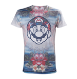 NINTENDO Super Mario Bros. Adult Male Tropical Mario All-Over Sublimation T-Shirt, Small, Multi-Colour