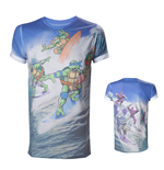 TEENAGE MUTANT NINJA TURTLES (TMNT) Adult Male Surfing Turtles All-Over Sublimation T-Shirt, Small, Multi-Colour