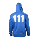 FALLOUT 4 Adult Male Vault 111 Billed Full Length Zipper Hoodie, Large, Blue