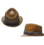 Free Authority Hat - Straw Fedora Tri-color Band
