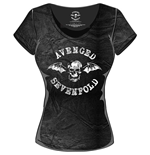 Avenged Sevenfold Women's Acid Wash Tee: Classic Death Bat