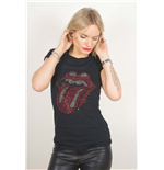 The Rolling Stones Women's Rhinestone Tee: Classic Tongue