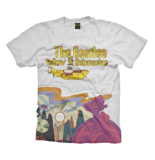 The Beatles Men's Tee: Yellow Sub Logo & Scenery