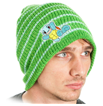 POKEMON Unisex Squirtle Striped Cuffless Beanie, One Size, Green
