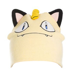 POKEMON Unisex Meowth Face & Ears Cuffless Beanie, One Size, Cream