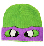 TEENAGE MUTANT NINJA TURTLE (TMNT) Unisex Donnie Face & Mask Cuffless Beanie, One Size, Green/Purple