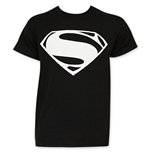 Batman v SUPERMAN Black And White SUPERMAN Logo Tee Shirt