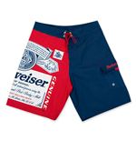 BUDWEISER Men's Blue And Red Beer Label Board Shorts