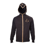 ASSASSIN'S CREED Syndicate Adult Male Bronze Brotherhood Crest Full Length Zipper Hoodie, Large, Black/Bronze