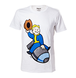 FALLOUT 4 Adult Male Vault Boy Bomber T-Shirt, Small, White