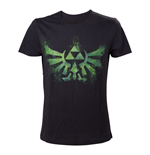 NINTENDO Legend of Zelda Adult Male Distress Green Royal Crest T-Shirt, Medium, Black