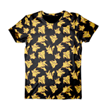 POKEMON Adult Male Pikachu All-Over Print T-Shirt, Extra Large, Black