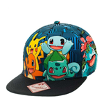 POKEMON Unisex Charmander & Friend All-Over Pattern Snapback Baseball Cap, One Size, Black/Blue Striped