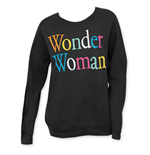 Junk Food WONDER WOMAN Black Rainbow Letter Crew Neck