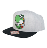 NINTENDO Super Mario Bros. Unisex Yoshi Patch Logo Snapback Baseball Cap, One Size, Grey/Dark Grey