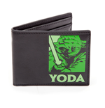 STAR WARS Unisex Master Yoda Green Logo Bi-Fold Wallet, One Size, Black