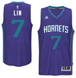 Men's Charlotte Hornets Jeremy Lin adidas Purple New Swingman Alternate Jersey