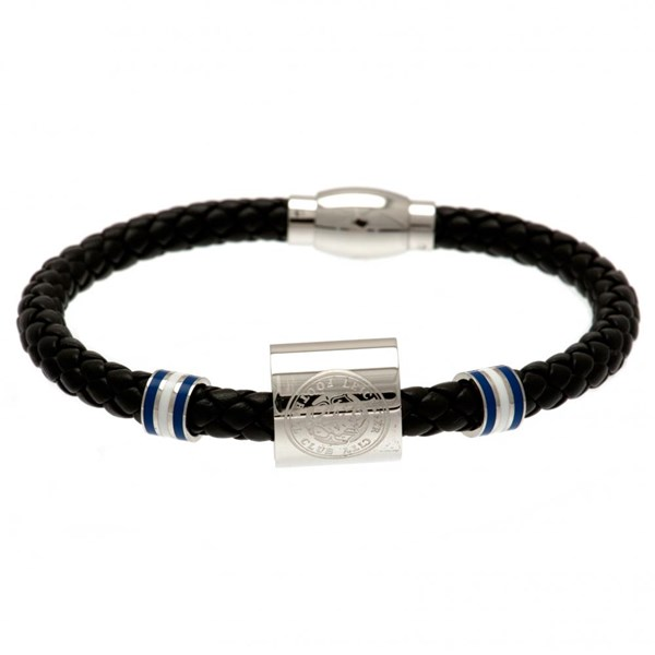Leicester City F.C. Colour Ring Leather Bracelet