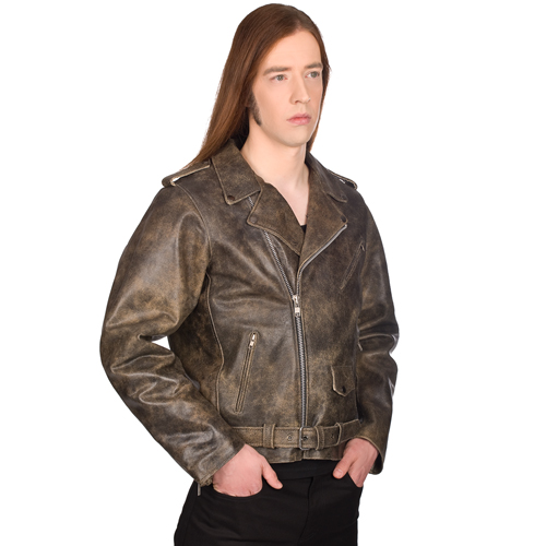 Mode Wichtig Mens Brando Jacket Vintage Cowsplit Leather