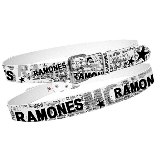 Ramones Belt - White With Full News Print Collage