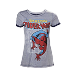 MARVEL COMICS Spider-Man Adult Female Crawling T-Shirt, Extra Large, Grey
