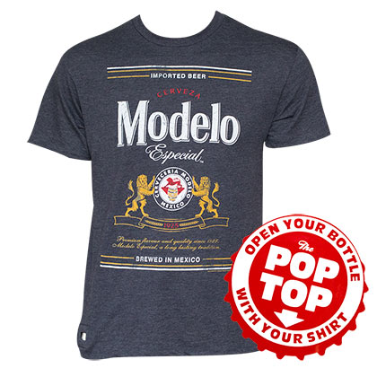 Men's Cotton Blend Modelo Text Label Pop Top Bottle Opener T-Shirt