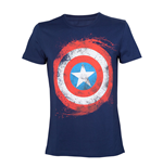 MARVEL COMICS Adult Male Swirling Captain America Shield T-Shirt, Large, Navy Blue