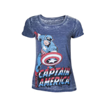 MARVEL COMICS Captain America Adult Female Super-Powered Solider Faded T-Shirt, Medium, Blue