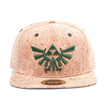 NINTENDO Legend of Zelda Unisex Embroidered Green Royal Crest Logo Snapback Baseball Cap, One Size, Tan/Cork