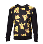 POKEMON Adult Male Pikachu All-over Sweater, Medium, Black/Yellow