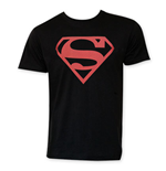 SUPERMAN Red Logo Black Tee Shirt