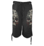 Death Bones - Long Fleece Shorts Black
