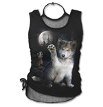 Wolf Puppy - 2in1 Neck Tie Mesh Top Black