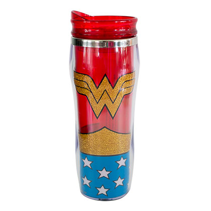 WONDER WOMAN Glitter Curved Travel Mug