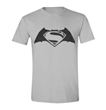 DC COMICS Batman vs Superman: Dawn of Justice Adult Male Logo T-Shirt, Small, Grey Melange