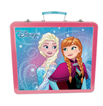 DISNEY Frozen Art Tin Case with 60pc Creative Accessories Kit, Pink/Turquoise