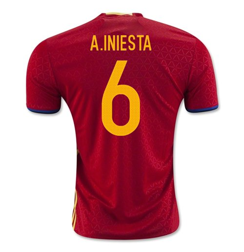 2016-2017 Spain Home Shirt (A.Iniesta 6)